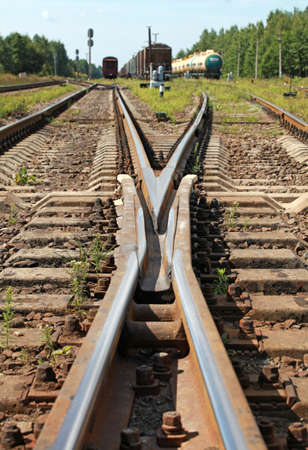 Modern railroad junction perspective  Industrial transportation background photo