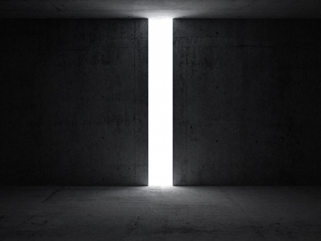 puertas abiertas: Abstracto oscuro interior con abertura en la pared 3d ilustraci�n concreta render