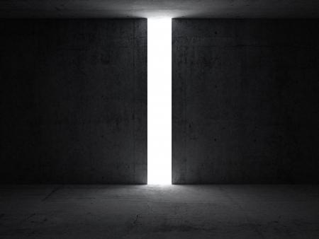 Donkere abstracte interieur met opening in de betonnen muur 3D render illustratie