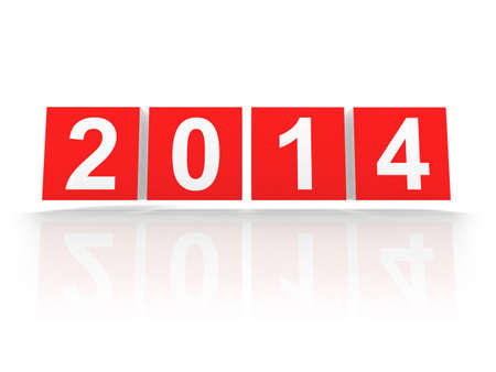 Red boxes with new 2014 year number on white with soft shadows  3d design element Stock Photo - 21913498