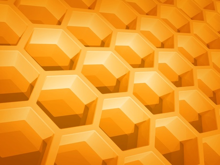 Abstract yellow honeycomb structure background  3d render illustration illustration