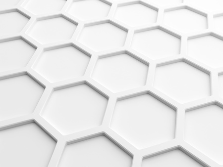 Abstract wall background with white honeycomb structure  3d render illustration illustration