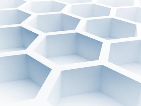 青いハニカム構造 3 d レンダリング図と抽象的なアーキテクチャの背景
