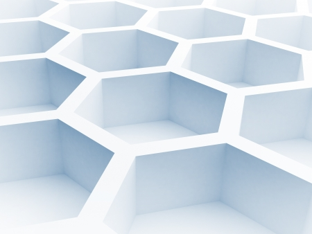 Abstract architecture background with blue honeycomb structure  3d render illustration