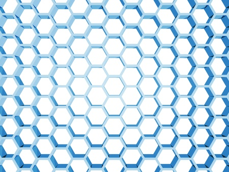 Blue honeycomb structure isolated on white background  3d render illustration illustration