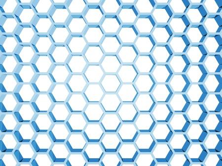 Blue honeycomb structure isolated on white background  3d render illustration Stock Illustration - 22005948