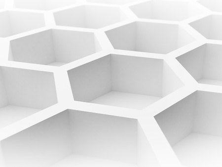 Abstract 3d architecture background with white honeycomb structure photo