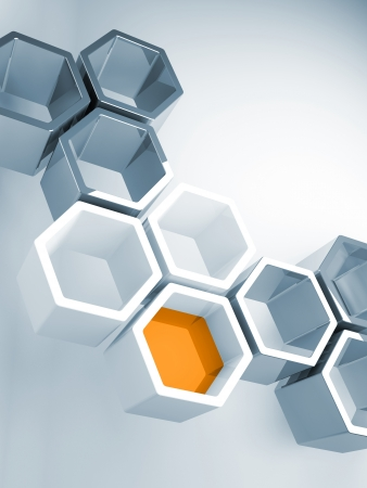 honeycomb: Abstract hi-tech concept background with blue honeycomb structure