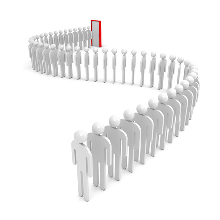 crowd tail: A queue of abstract people waiting near the red door  3d render illustration isolated on white