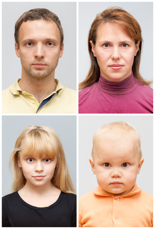 Set of real young Caucasian family face portraits on gray background Stock fotó