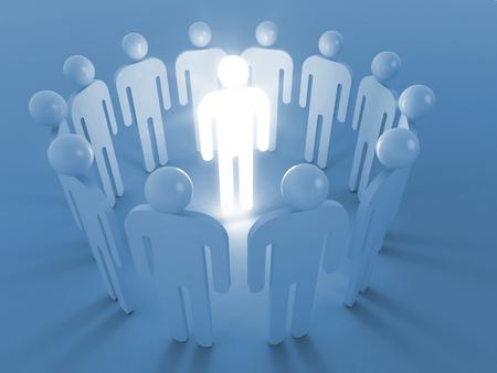 prodigy: Creativity idea metaphor illustration. One shining man stand in round of ordinary people Stock Photo