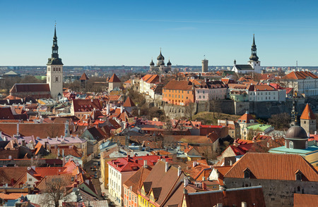 Aerial view on central part of old Tallinn, Estonia photo