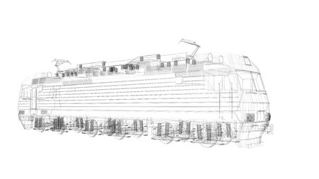freight train: 3d  wire frame locomotive model isolated on white background
