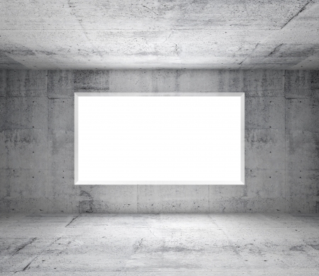 Abstract gray interior of empty room with concrete walls and white window photo