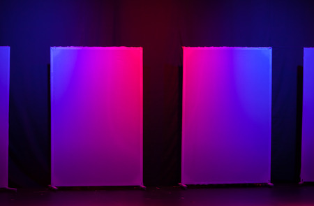 Abstract theatrical scenery stand on the stage with colorful illumination photo
