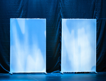 Abstract theatrical scenery stand on the stage with blue illumination photo