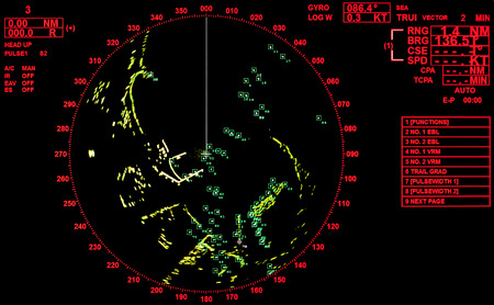 Black and red modern ship radar screen with round map and standard text labels photo
