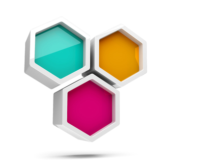 Abstract glossy colorful honeycomb 3d design element isolated on white background photo