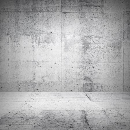 cemento: Abstract interior blanco de la habitación vacía con paredes de hormigón y el suelo