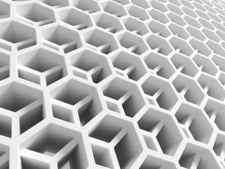 cell layers: Abstract white double honeycomb structure. 3d illustration, background texture Stock Photo