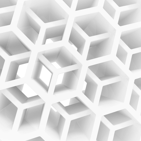 Abstract 3d architecture background with white double honeycomb structure photo