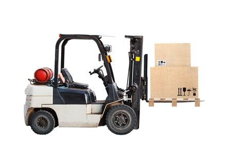 forklift: Standard small gas engine truck lift with cardboard cargo boxes isolated on white Stock Photo