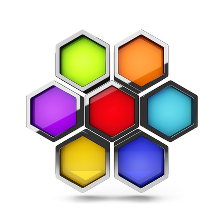 Abstract 3d colorful honeycomb design palette object isolated on white photo