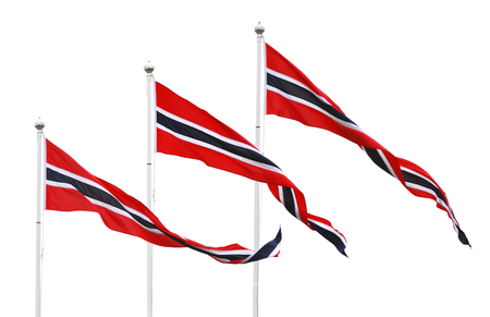 pennant: Three Norwegian pennant flags isolated on white Stock Photo