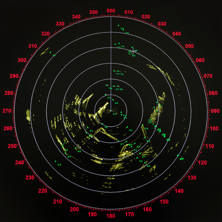 Black and red modern ship radar screen with round map
