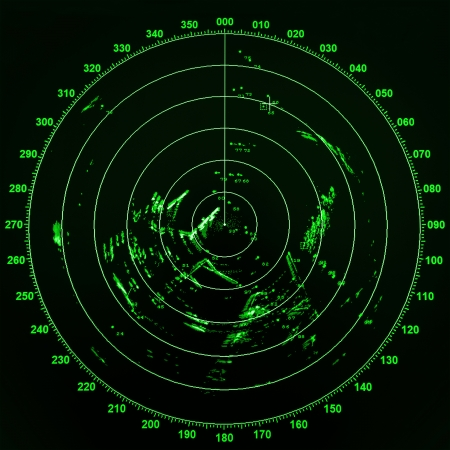 Modern ship radar screen with green round map on black background Imagens