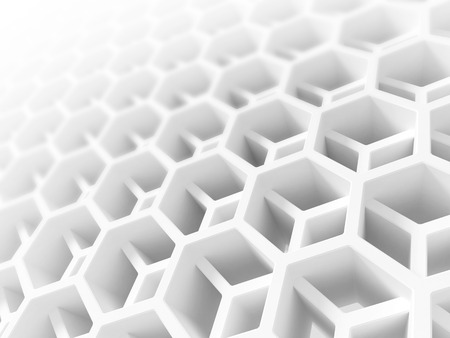Abstract white honeycomb structure  3d illustration, background texture