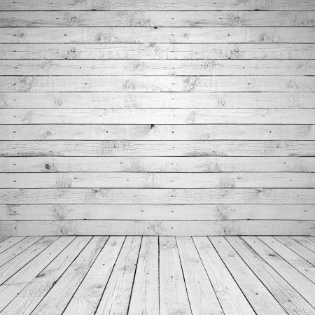 Abstracte lege witte kamer interieur met houten wand en vloer
