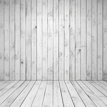 Abstract empty white room interior with wooden wall and floor photo