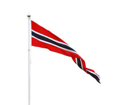 Norwegian triangle pennant flag isolated on white Stock Photo