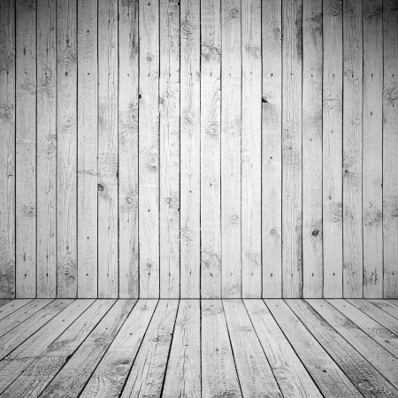 Abstract empty room interior with white wooden wall and floor photo