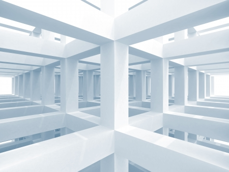 Abstract blue architecture background. Internal space of a modern braced construction Stock Photo - 22928969