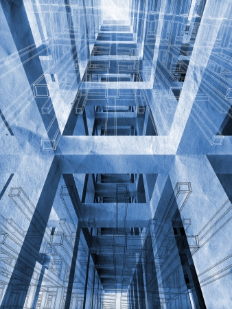 building blueprint: Blue abstract architecture 3d background with interior of braced construction and blueprints