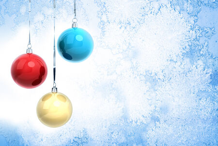 New Year background illustration with three Christmas balls hanging on ribbons above blue frozen glass surface illustration