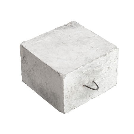 concrete block: Big concrete construction block with metal lug isolated on white background