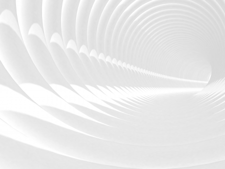 Abstract 3d illustration with white bent spiral tunnel interior illustration