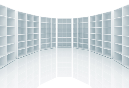 bookshelf digital: Empty white cabinets with cells stand on white background