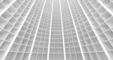 Abstract white architecture background. Round interior with cellular walls
