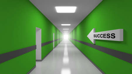 Success abstract 3d metaphor illustration. Green office corridor interior with text label on white arrow illustration