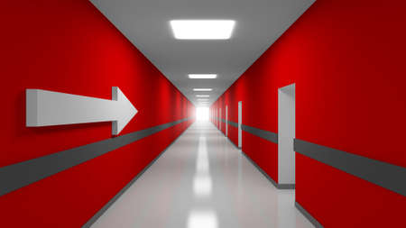 Career abstract 3d metaphor illustration. Red office corridor interior with white arrow illustration