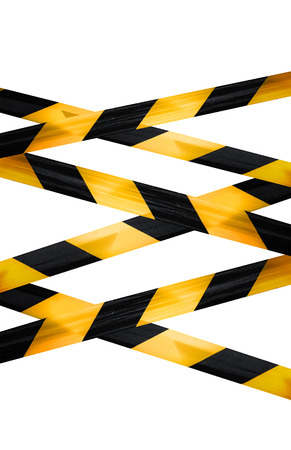 Black and yellow caution striped tapes isolated on white background photo