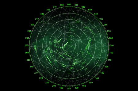 MARITIME: Modern radar screen with green round map and digital wire frame surface on black background