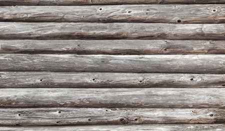 balk: Wooden wall of rural house made of logs. Horizontal photo background texture