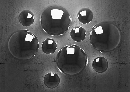Abstract 3d background with shining spheres on dark concrete wall photo