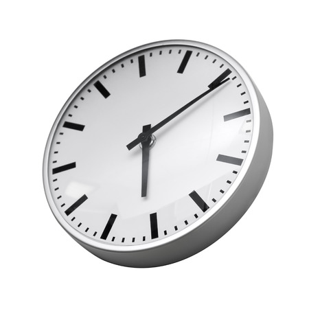 Classical modern wall clock isolated on white background photo