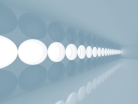 shine: Blue abstract 3d interior with round windows in a row